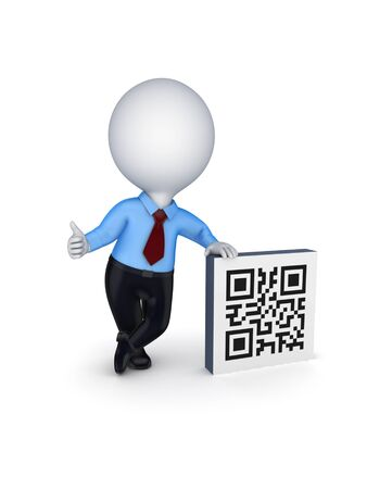 3d small person and symbol of QR code.Isolated on white background. photo