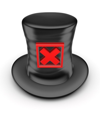 tophat: Black top-hat with red cross mark