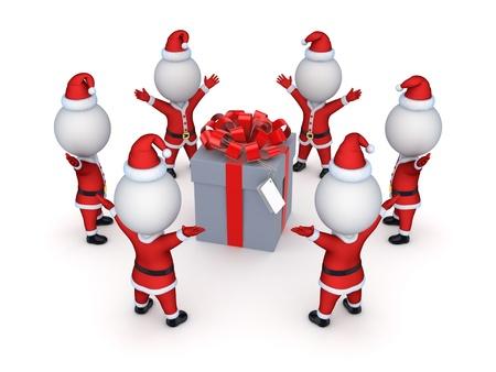 Santas around giftbox  photo