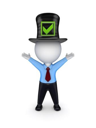 tophat: 3D piccola persona in alto cappello con segno di spunta verde