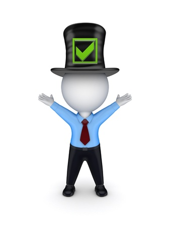 green tophat: 3d small person in top-hat with green tick mark