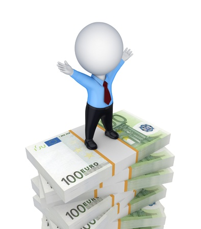 3d small person standing on a stack of euro  Stock Photo