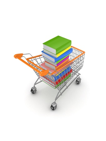 Colorful books in a shopping trolley  photo