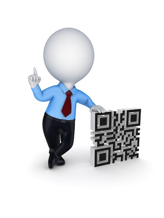 3d small person and symbol of QR code  photo