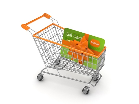 Shopping trolley with credit card  photo