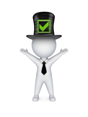 stovepipe: 3d small person in top-hat with green tick mark