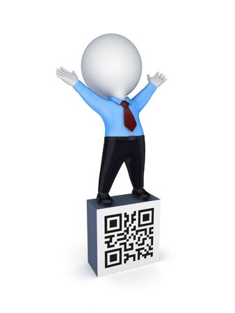 passcode: 3d small person and symbol of QR code