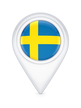 swedish: Icon with swedish flag  Stock Photo