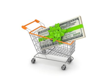 Pack of dollars in a shopping trolley Stock Photo - 18743228