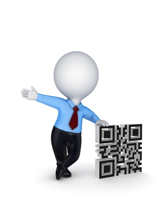 3d small person and symbol of QR code