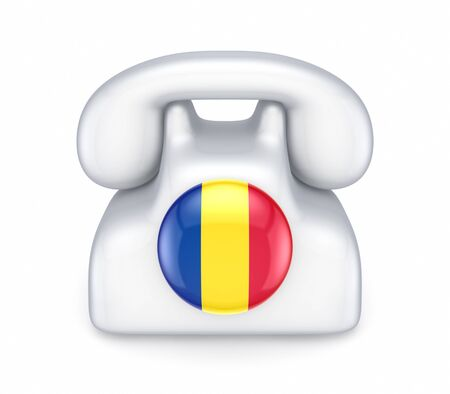 romanian: Retro telephone with romanian flag