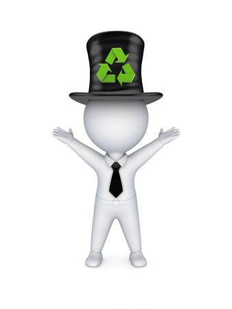 tophat: 3D piccola persona in alto cappello con il simbolo di riciclo