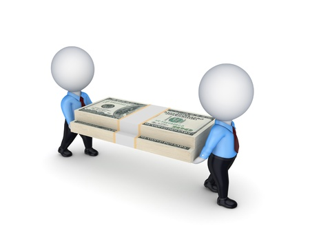 3d small people with packs of dollars Stock Photo - 18743190