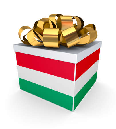 Giftbox with hungarian flag  photo
