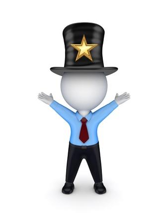 tophat: 3D piccola persona in parte-cappello con il simbolo stella Archivio Fotografico