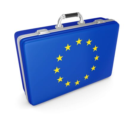 eu: Suitcase with flag of EU  Stock Photo
