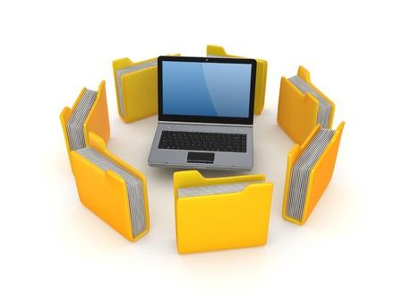 Yellow folders around notebook Stock Photo - 18743717