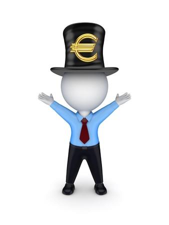 tophat: 3D piccola persona con segno di euro il top-hat