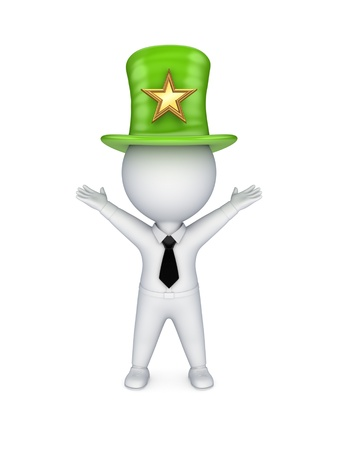 tophat: 3d small person in top-hat with star symbol  Stock Photo