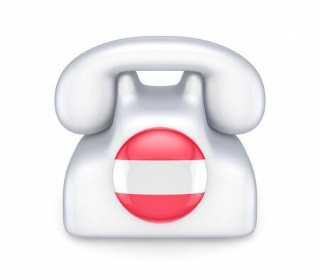 austrian: Retro telephone with austrian flag  Stock Photo