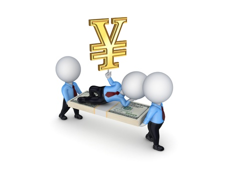 3d small people with packs of dollars and symbol of yen Stock Photo - 18743603