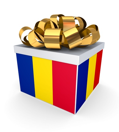 Romanian flag on a giftbox  photo