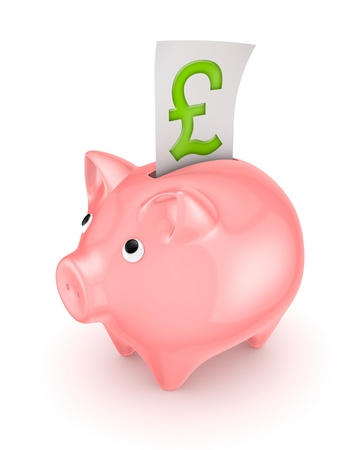 pound sterling: Piggy bank and symbol of pound sterling
