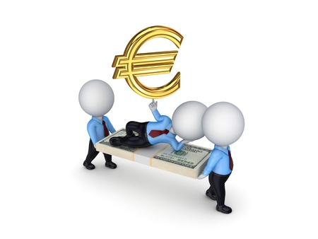 3d people with symbol of euro  Stock Photo - 18743629