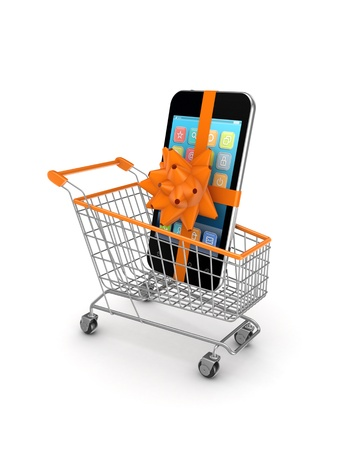 Mobile phone in a shopping trolley  photo