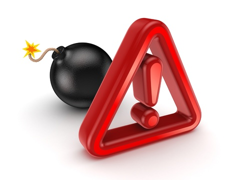 Warning sign and black bomb  Stock Photo - 18743828