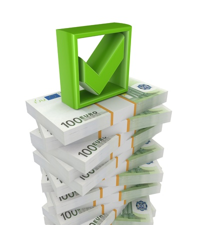 Packs of euro and green tick mark Stock Photo - 18743833