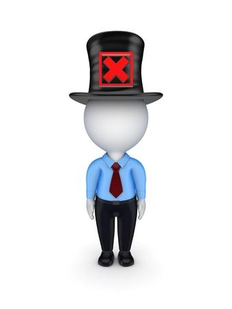 tophat: 3D piccola persona con rosso segno di croce su un top-hat
