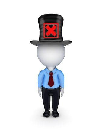 tophat: 3d small person with red cross mark on a top-hat