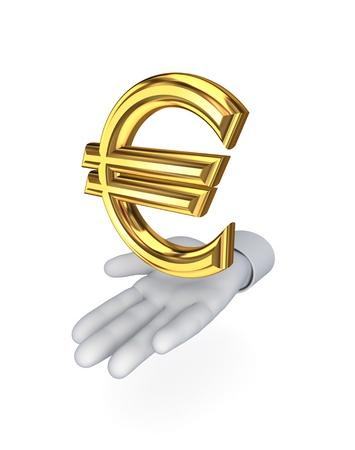 Stylized hand and symbol of euro  photo