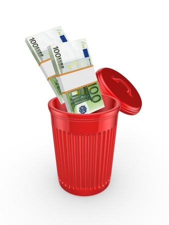 cleaning debt: Packs of euro in red recycle bin
