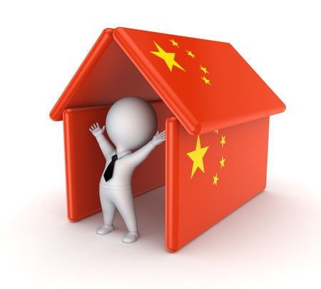chineese: 3d small person with flag of China