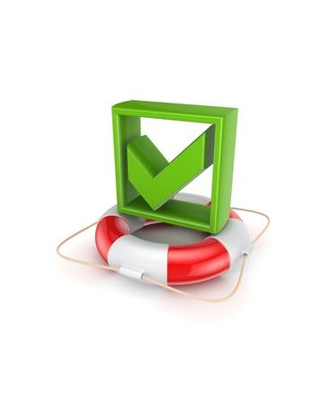Green tick mark on lifebuoy  photo