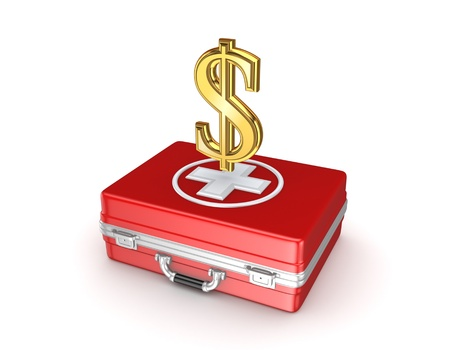 Sign of dollar on a red medical case  photo