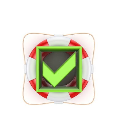 Green tick mark on lifebuoy  photo