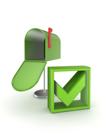 Green tick mark and mailbox  photo