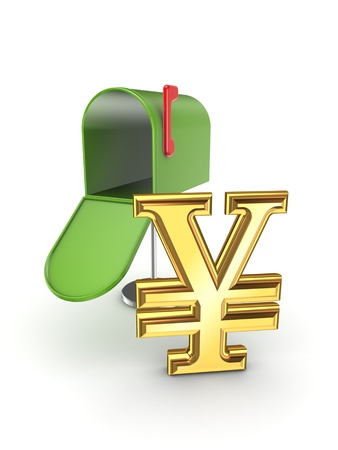 Symbol of yen in postbox  photo