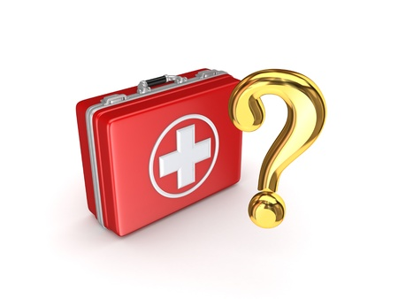 Golden query mark and medical suitcase Stock Photo - 19568602