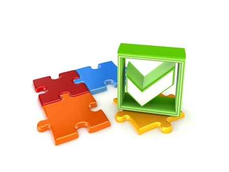 Colorful puzzles and green tick mark  photo