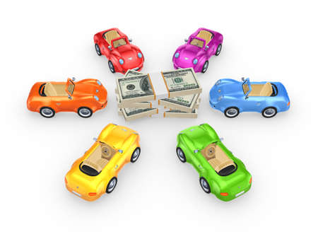 Colorful cars around stack of dollars  photo