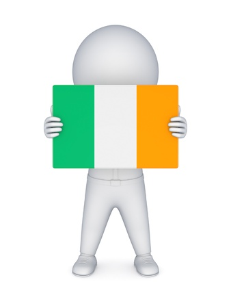 irish pride: 3d small person with irish flag