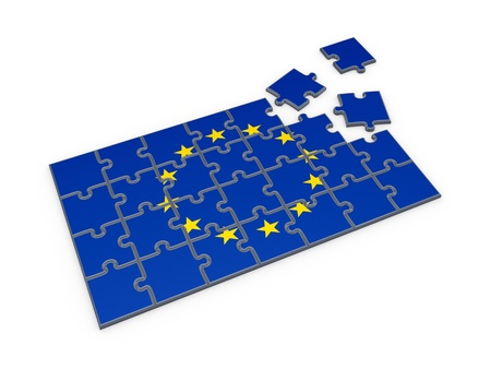 eu: Flag of EU made of puzzles  Stock Photo
