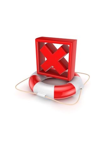 Red cross mark on lifebuoy  photo