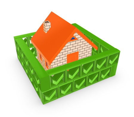 Wall of green tick marks around small house Stock Photo - 19568727