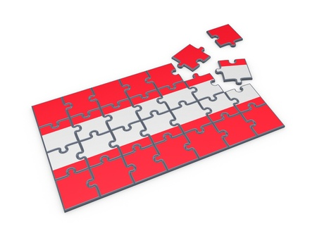 austrian: Austrian Flag made of puzzles  Stock Photo