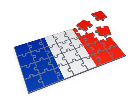 French flag made of puzzles  photo
